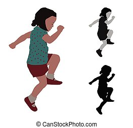 Realistic flat colored illustration of a playing child
