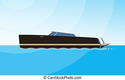 Realistic flat style illustration of the side view of black motorboat on the water. Modern ship image on the simple background of a sea landscape.