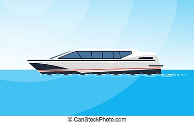 Realistic flat style illustration of the side view of white motorboat on the water. Modern ship image on the simple background of a sea landscape.
