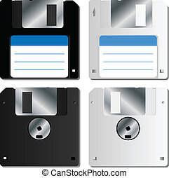 Realistic floppy disk set - Realistic black and white floppy...