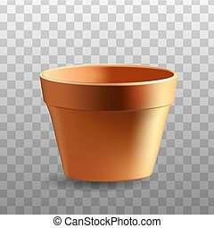 flowerpot - Realistic flowerpot isolated on transparent...