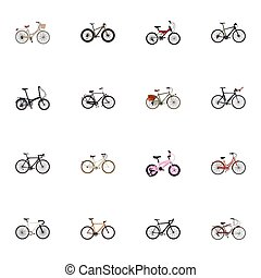 Realistic Folding Sport-Cycle, Working, Journey Bike And Other Vector Elements. Set Of Bike Realistic Symbols Also Includes Vintage, Cruise, Track Objects.