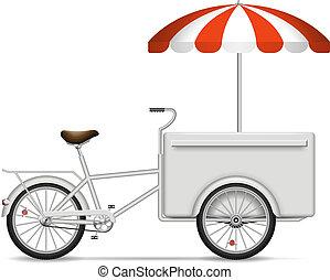 Realistic food bike on white background