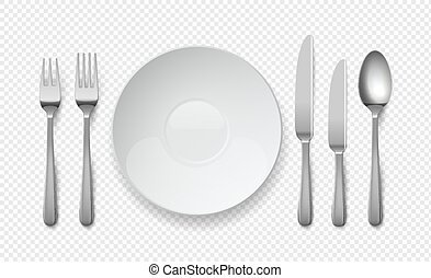 Realistic food plate with spoon, knife and fork. White empty dishes for cafe and restaurants. Cutlery vector top view illustration