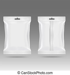 Realistic food snack pillow bags. Mock up. Vector.
