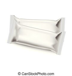 Realistic food snack pillow bags. Mock up. Vector