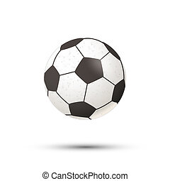 Realistic football ball icon with shadow on white