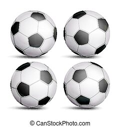 Realistic Football Ball Set Vector. Classic Round Soccer Ball. Different Views. Sport Game Symbol. Isolated Illustration
