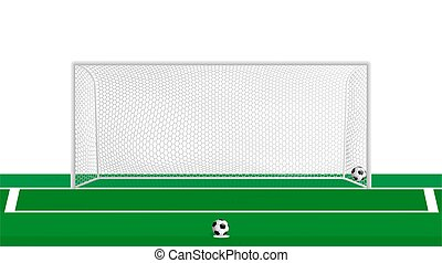 realistic football goal with hexagonal net and soccer ball at penalty spot. Team sports. Active lifestyle. Vector