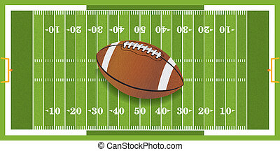 A vector football sitting at midfield of a grass textured football field. EPS 10. File contains transparencies.