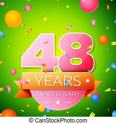 Realistic Forty eight Years Anniversary Celebration Design. Pink numbers and golden ribbon, confetti on green background. Colorful Vector template elements for your birthday party