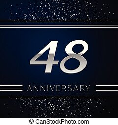 Realistic Forty eight Years Anniversary Celebration Logotype. Silver numbers and silver confetti on blue background. Colorful Vector template elements for your birthday party