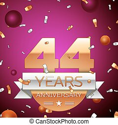 Realistic Forty four Years Anniversary Celebration Design. Golden numbers and silver ribbon, confetti on purple background. Colorful Vector template elements for your birthday party