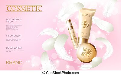 Realistic foundation powder. Tube spray, container golden...