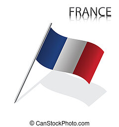 Realistic French flag, vector illustration