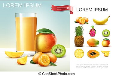 Realistic Fresh Fruit Juice Composition