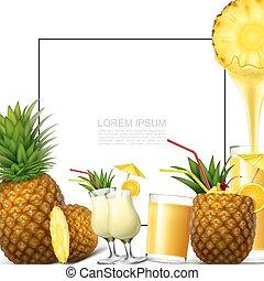 Realistic Fresh Pineapple Fruit Template