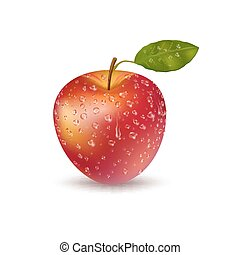 Realistic Fresh Red Apple With Drops