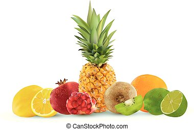 Realistic fruit on a white background, pineapple, lemon, kiwi, lime, pomegranate, orange. Vector graphics.