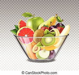 Realistic Fruits In Glass Bowl