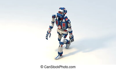 Realistic funny 3D robot android - walk cycle