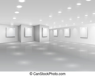 Realistic gallery hall with blank white canvases vector...