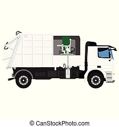 Realistic Garbage Truck isolated on white background. Vector illustration