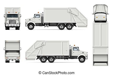 Realistic garbage truck vector mockup