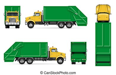Realistic green garbage truck vector mockup. Isolated template of dump lorry on white background for vehicle branding, corporate identity, easy to editing and recolor