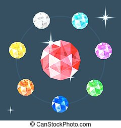Realistic gems collection. Set of different jewels. Vector illustration.