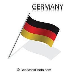 Realistic German flag, vector illustration