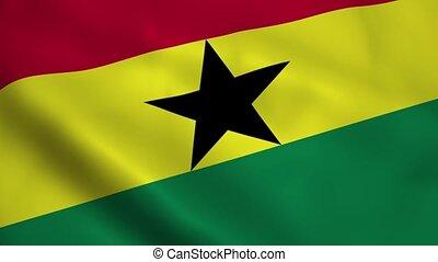Realistic Ghana flag waving in the wind. Seamless looping.