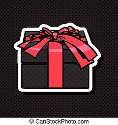Realistic Gift Box Icon With Red Bow And Ribbon On Black Background