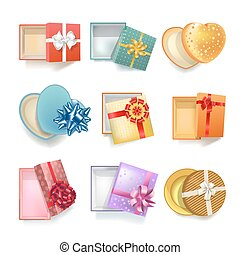 Realistic gift boxes with open covers colorful set on white