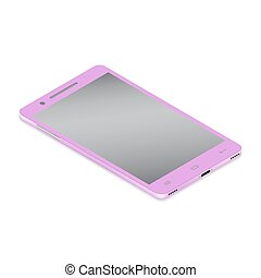 Realistic glamor pink smartphone cellular in isometry on a white background.