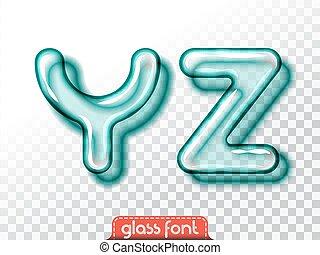 Realistic glass alphabet font