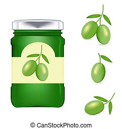Realistic glass bottle packaging for olive oil.