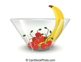 Realistic glass bowl with fruit