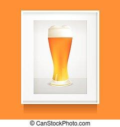 Realistic Glass Of Beer In White Frame, Photoframe. Vector Illustration
