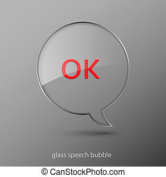 Realistic glass speech bubble. Vector illustration.