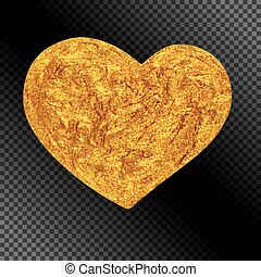 Realistic Glittering Golden Heart for Celebratory Decoration.