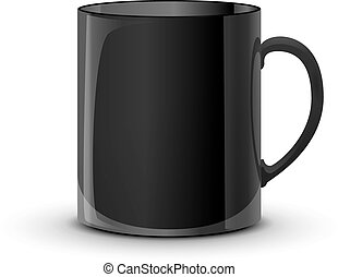Realistic glossy black cup with shadow on white