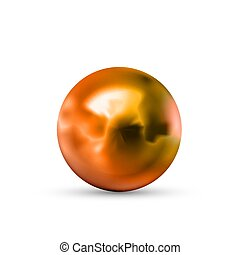 Realistic glossy copper sphere with glares and reflection isolated on white