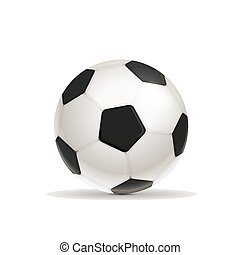 Realistic glossy football ball with shadow on white