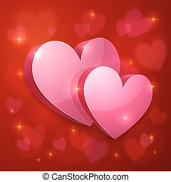 Realistic glossy hearts Valentines greeting card