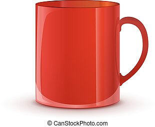 Realistic glossy red cup with shadow on white