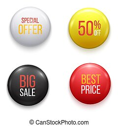 Realistic glossy sale buttons or badges. Product promotions.