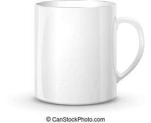 Realistic glossy white cup with shadow