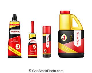 realistic glue tube stick bottle mockup set