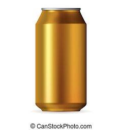 Realistic gold aluminum can